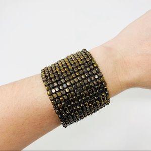 Jewelry - BOHO Bronze Beaded Cuff Bracelet Statement Artisan